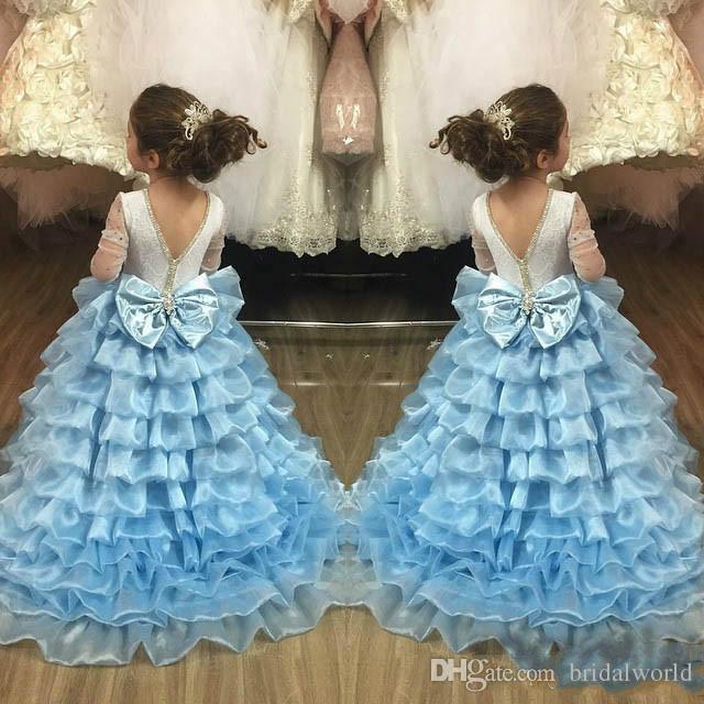 2017 Flower Girls Dresses Rhinestone Tiered Girls Formal Wear Jewel Nackline 3/4 Long Sleeve Illusion Floor Length Birthday Dresses For Girl