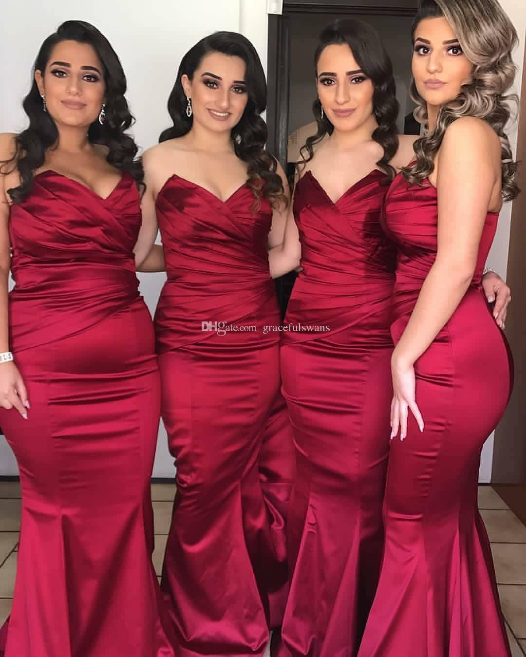 c88225ccf1f0d Mermaid Burgundy Bridesmaid Dresses Long Sweetheart Dark Red Satin Maid Of  Honor Dresses Ruched Wedding Guest Dresses Feestjurken Green Bridesmaid  Dress ...