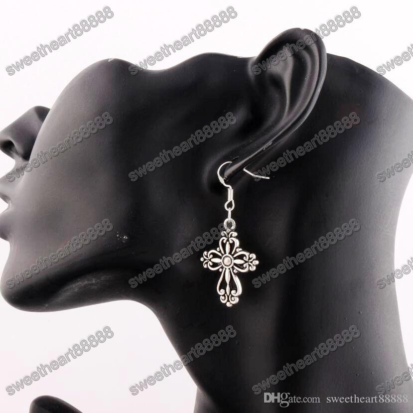 Filigree Heart Cross Earrings 925 Silver Fish Ear Hook Antique Silver Dangle Chandelier E425 20.5x45.3mm