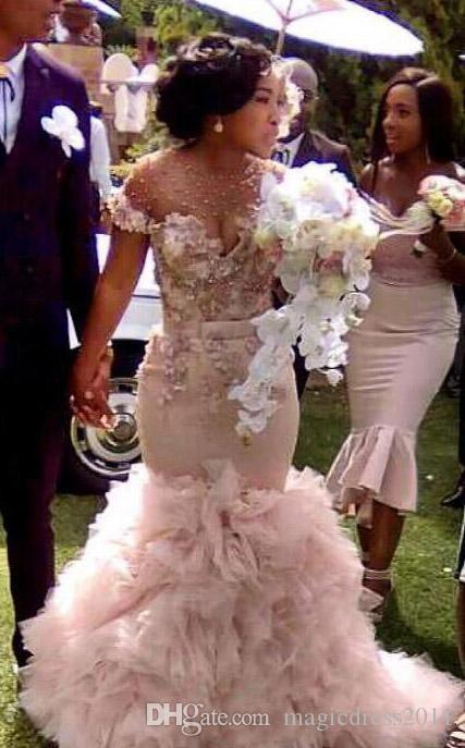 Simple Elegant Mermaid Wedding Dress Sweep Train Short Sleeve Lace Tulle Cheap Jewel Covered Button Bridal Gowns