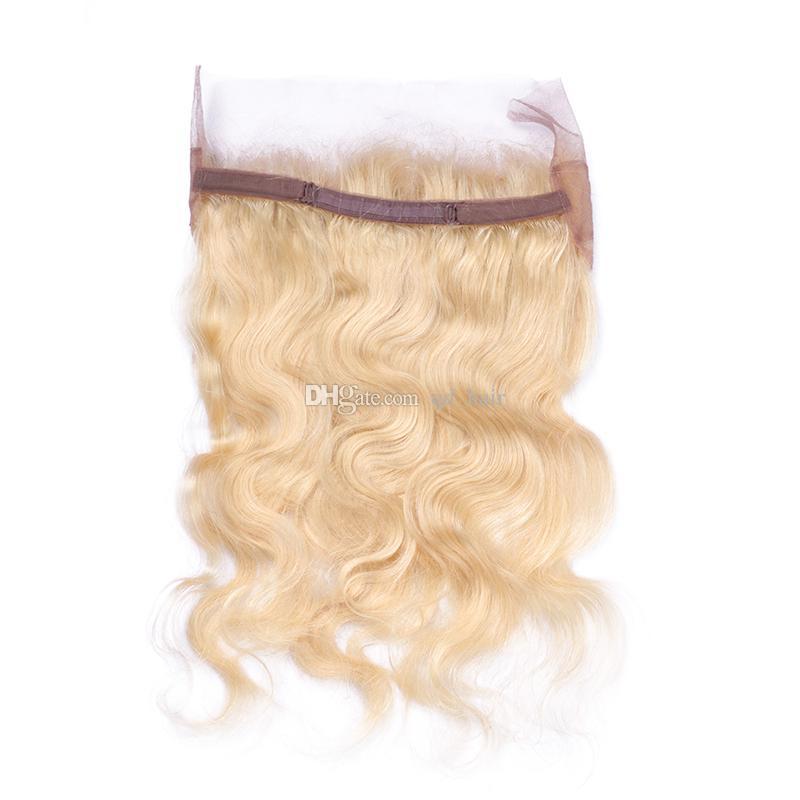Nuovo arrivo Blonde # 613 Bundle di capelli dell'onda del corpo con 360 banda frontale in pizzo russo # 613 Capelli vergini tesse con frontale di pizzo 360