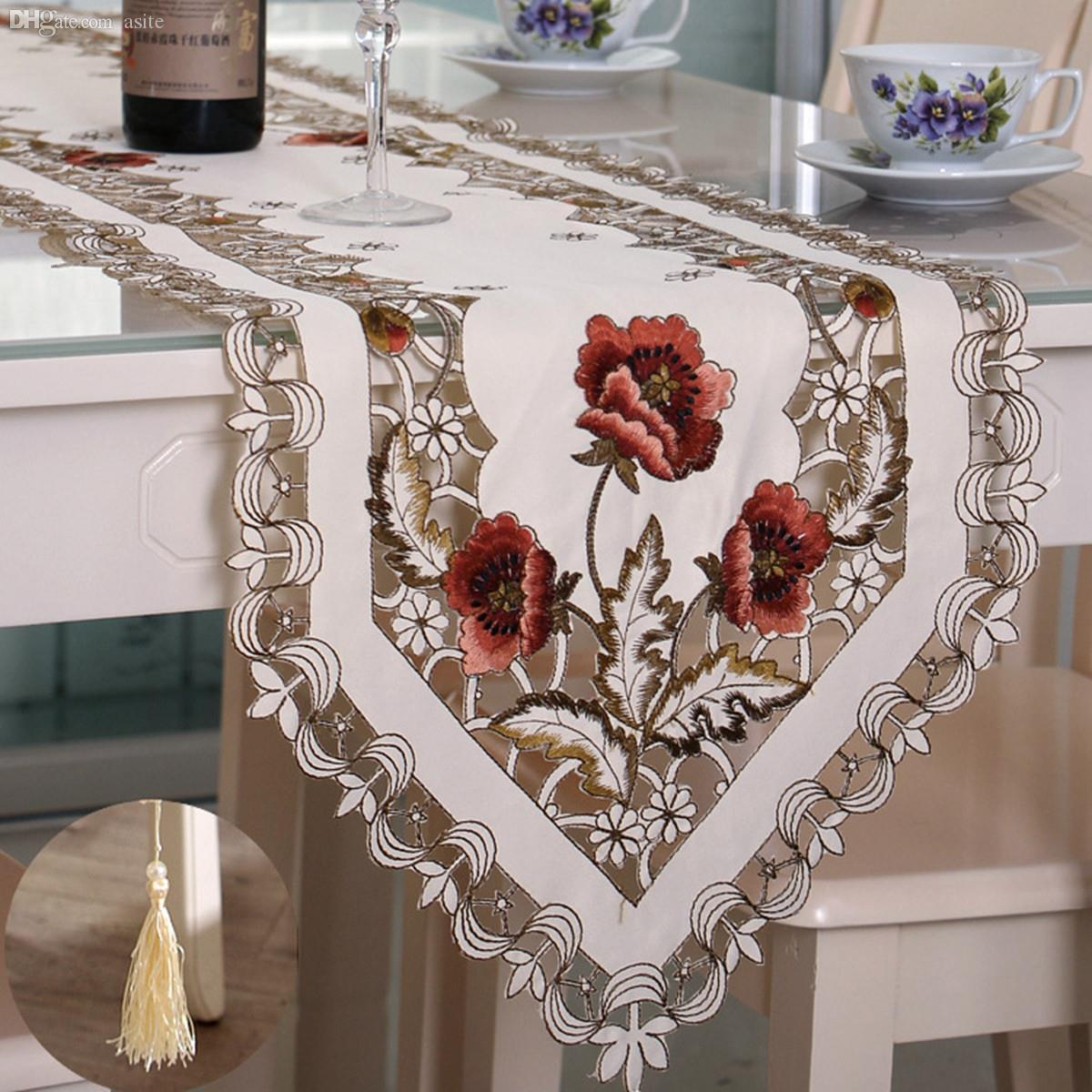 Delicieux Wholesale Elegant Polyester Embroidery Table Runner Handmade Embroidered  Flower Floral Cutwork Simple Home Table Cloth Covers Runners Cheap Table  Runner ...
