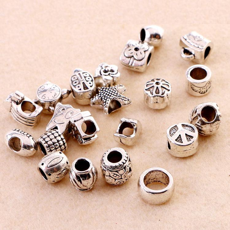 Große Loch Lose Perlen Silber überzogene Charms DIY Schmuck Perlen Armbänder für europäische Armband Halskette 20styl