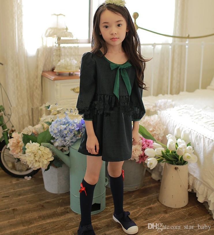 Fashion England Style Baby Kids Clothing Beautiful Girl's Dresses Long Sleeved Cotton Bow Plaid Dress Girl School Dress Party One-piece 9540