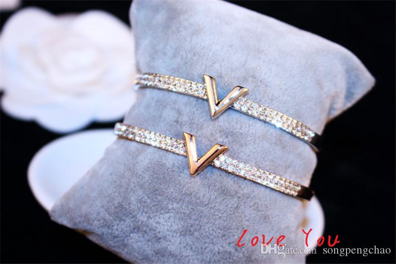 الأوروبي العلامة التجارية رسالة V سوار سوار الزركون الفاخرة السحر أساور للمجوهرات حزب المرأة الجميلة اكسسوارات أزياء