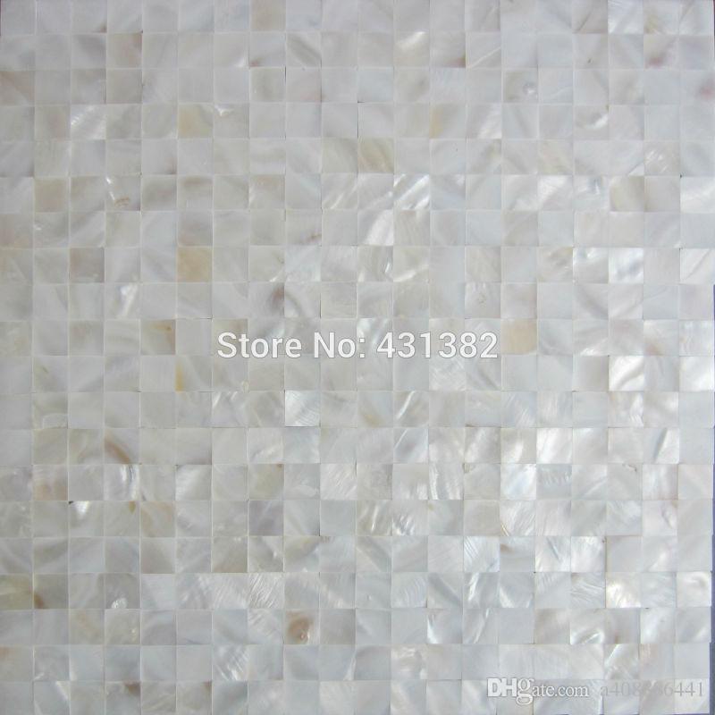 Mosaïque lustrée de 15 * 15 mm; carreaux de mosaïque en nacre blanche pure  et transparente; carrelage mural de salle de bain; carrelage de dosseret de  ...