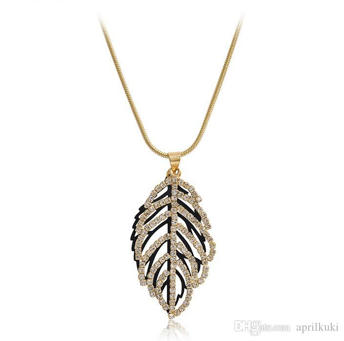 2016 Newest Gold Design Luxury Jewelry 24K Real Gold Copper Leaf Necklace Czech Crystal Necklaces Leave Neckalce Gifts necklaces & pendants