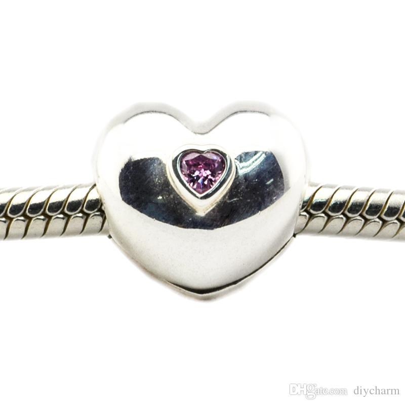 Serve para Pandora Pulseira 100% 925 Sterling Silver grânulos de clipe Steady Heart, Rosa CZ encantos diy 2016 mais novo Autumen jóias / lote