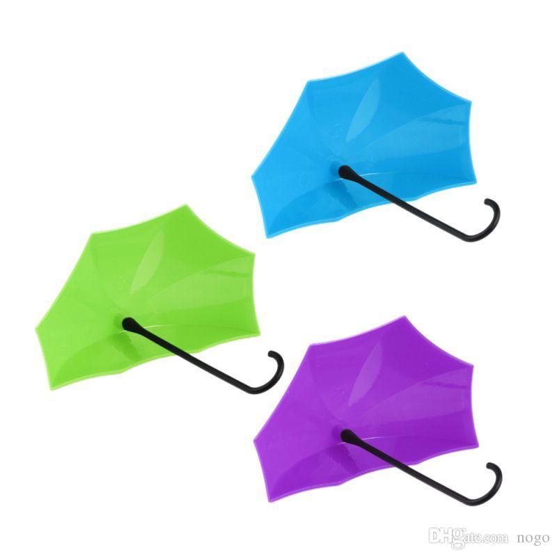 Bunten Regenschirm Wand Haken Schlüssel Haarnadel Halter Veranstalter Dekorative 3-tlg