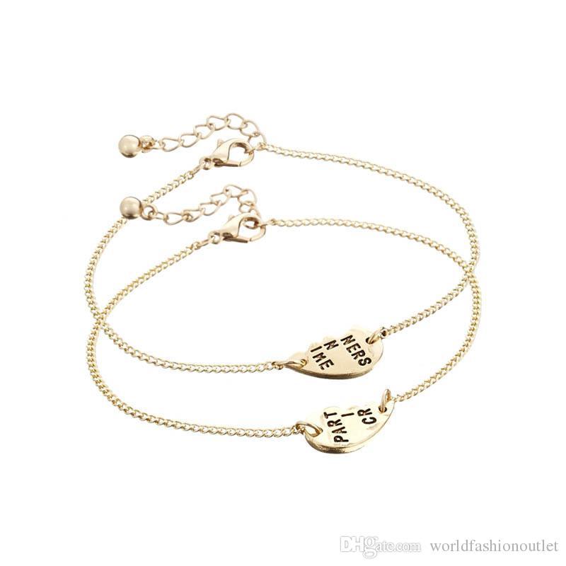 Half Heart Partners In Crime Letter Bracelets Anklets Jewelry Women Bracelet Bangle Link Chain Jewellery Accessories Best Gift for Friends