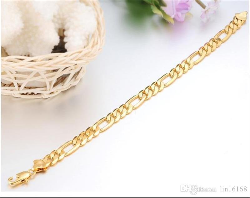 Hot Sell Classic Vintage 18K Real Gold Plated Figaro chain bracelet Attractive Gold plated Bracelet handmade Men Women Jewelry wholesale