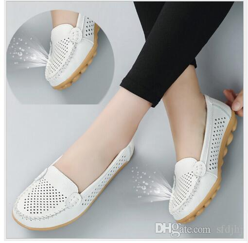 f9516006b00 Spring Summer Genuine Leather Women Flats Shoes Female Casual Flat ...