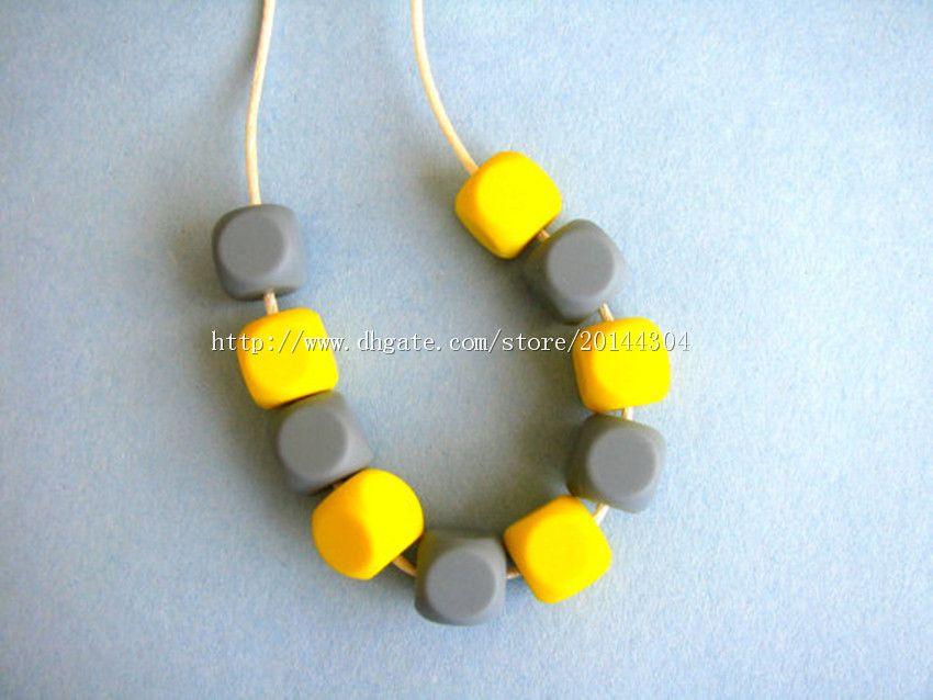 Perles de dentition en silicone DIY / Collier d'allaitement Sans BPA, Silicone de qualité alimentaire approuvé par la FDA! Colliers d'allaitement Chewelry / Tendance à dentition Toy-M47