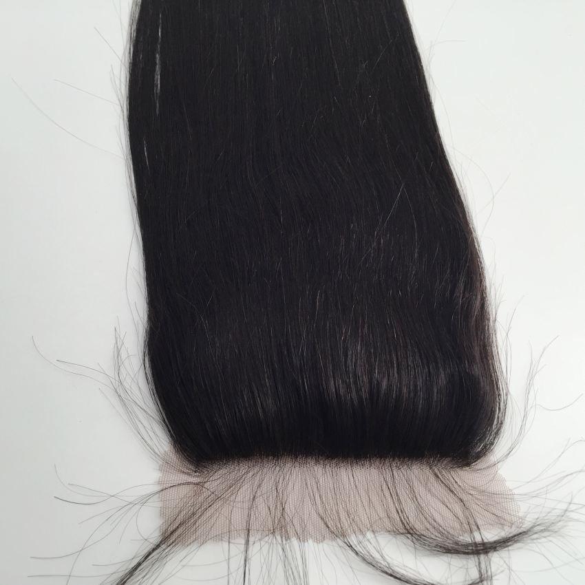 Средняя часть свободная часть 3 Часть Шелковая основа кружева прямая верхняя часть закрытия класс 7A волос 4*4 топ закрытие