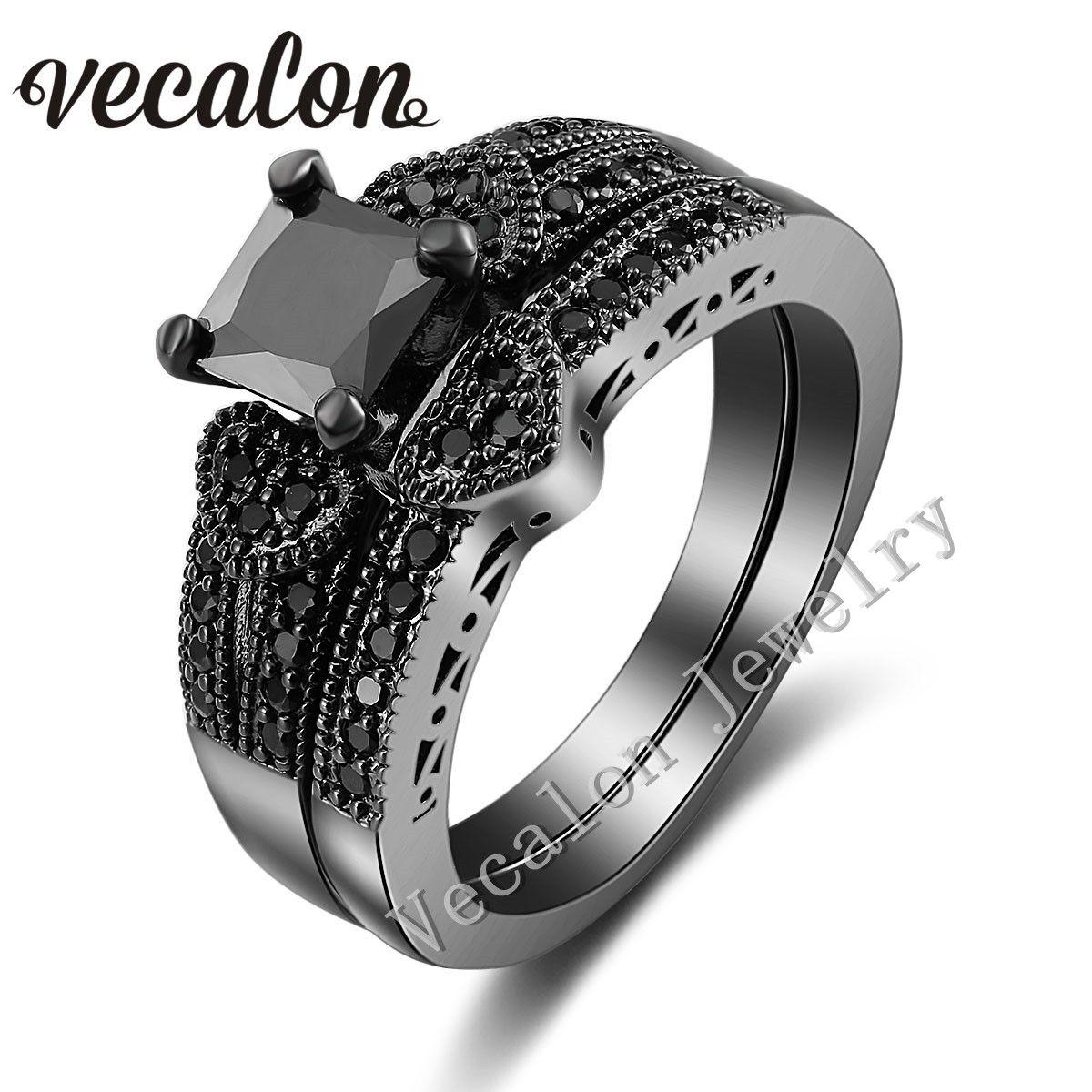 2018 Vecalon Heart Jewelry Women Engagement Wedding Band Ring Set