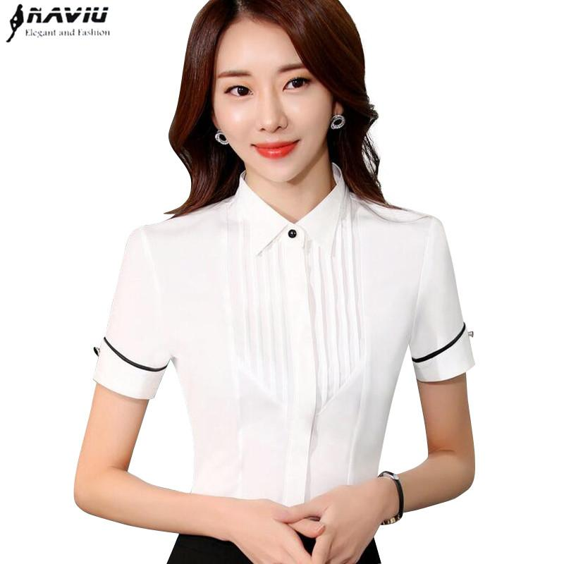 77eb1ff29f0 2019 New Fashion White Women Shirt OL Summer Business Formal Slim Chiffon  Short Sleeve Blouses Office Ladies Plus Size Work Wear Tops From  Erindolly360b