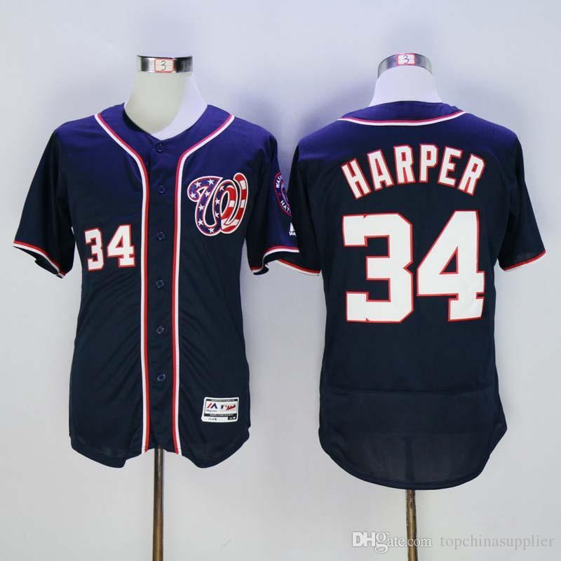 8adfd645 ... 2017 MenS Washington Nationals 34 Bryce Harper Majestic Navy Blue  Player Jersey Cheap Stitched Baseball Shirts ...