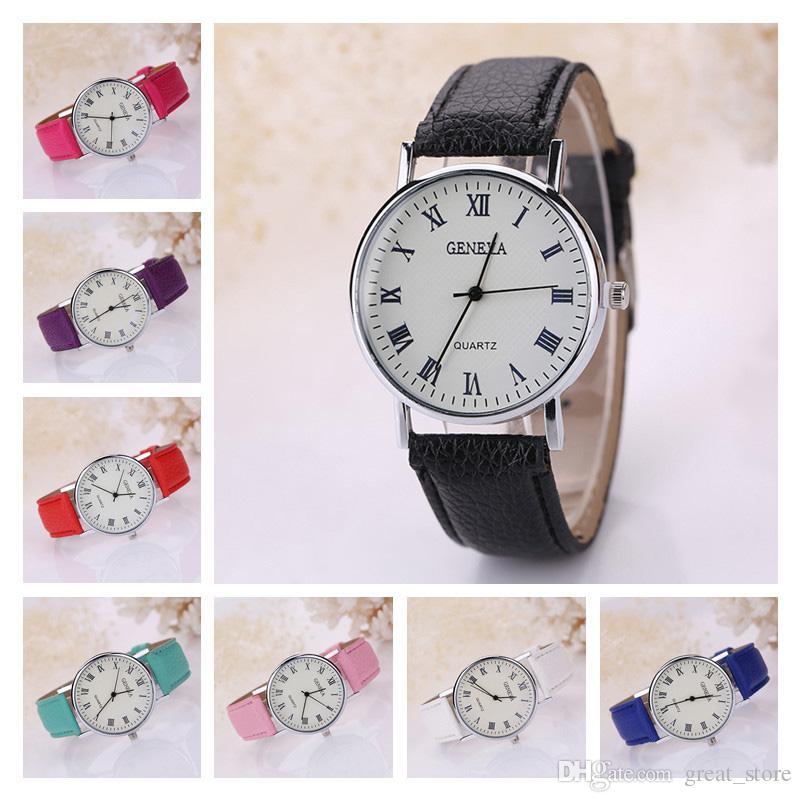 Brand new genebra mumerals romanos relógios unisex, 8 cores cinta assista moda personalidade Quartz relógios de pulso frete grátis GTPH12