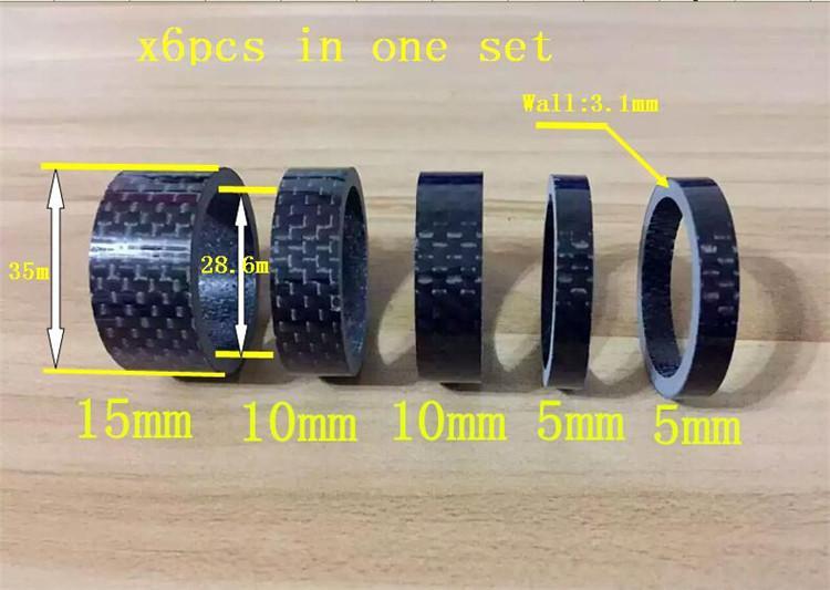 5 Adet 1-1 / 8 inç Bisiklet Kulaklık Karbon Fiber Yıkama Seti Bisiklet Kulaklık Kök Paspayı Kiti Bisiklet Fix Tamir Için 5mm * 2 / 10mm * 2 / 15mm * 1