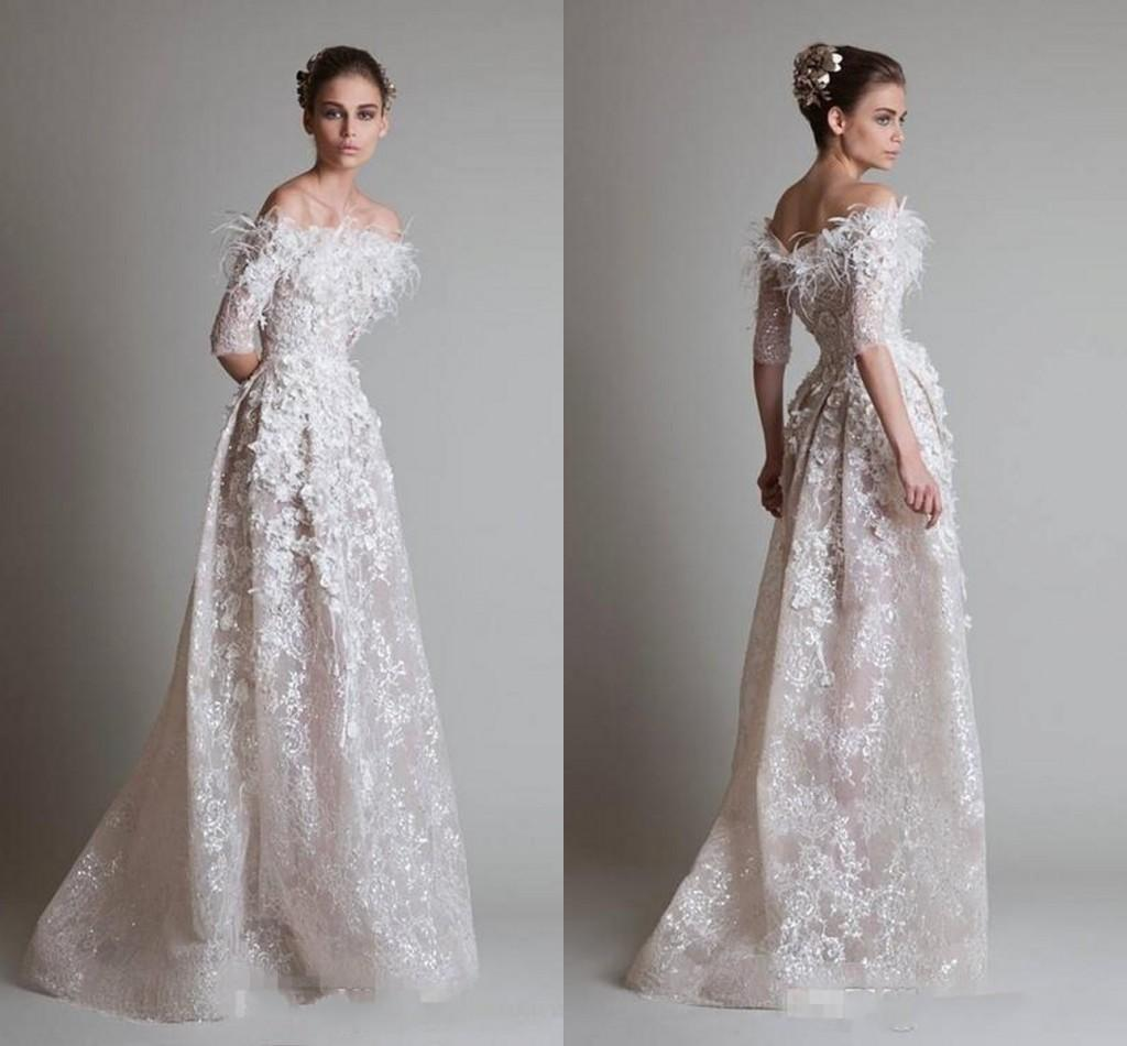 6fbc0446604a Krikor Jabotian 2016 Evening Dresses Sexy Off Shoulder Half Long Sleeve  Lace Applique See Through Prom Dresses Floor Length Party Gowns Canada 2019  From ...