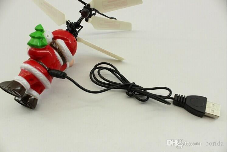 Electric Infrared Sensor Flying Ball Santa Claus LED Flashing Light Toys RC Helicopter Quadcopter Drone Toy Kids Christmas Gifts
