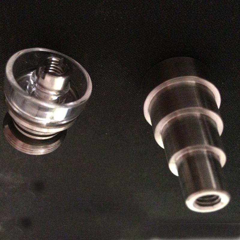 Envío gratis 6 en 1 Clavo de titanio sin hogar con cuenco de cuarzo Plato de cuarzo Clavos de titanio 14 mm 19 mm Conjunto de uñas de cuarzo Banger para bongs de vidrio