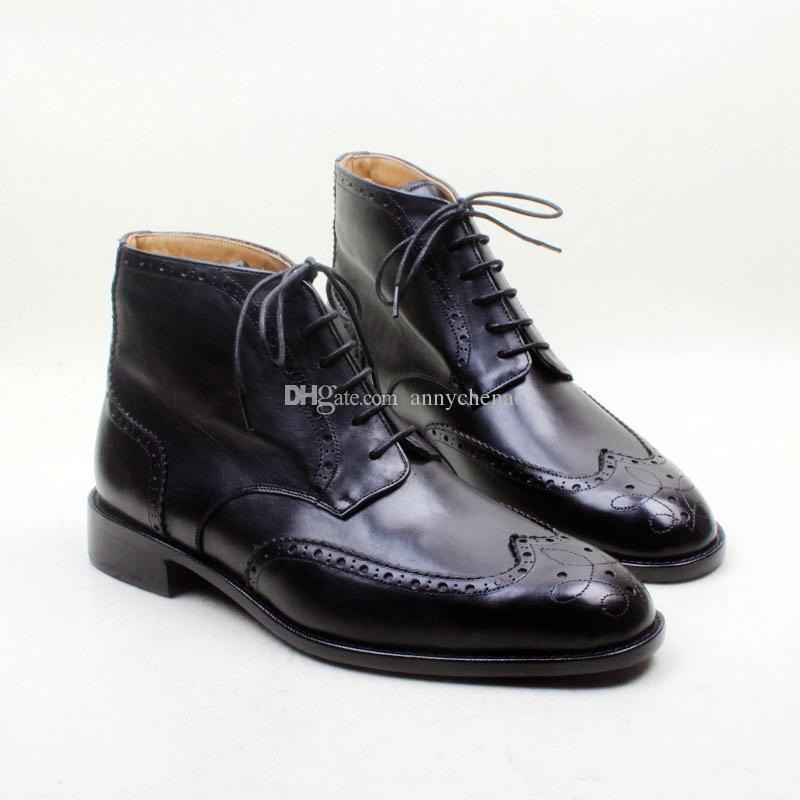 0fa1a73593b Men S Boots Custom Handmade Shoes Genuine Calf Leather Round Toe Lace Up Hand  Painted Breathable Color Black Fashion Boots HD B032 Boots No 7 Bootie From  ...
