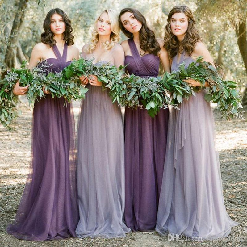 Abiti da Damigella Cabriolet Lunghi Lunghezza Piano 2019 Estate Blush Viola Rosa Beach Wedding Party Dress Lace Up Back Vestido Longo