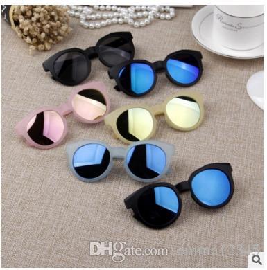 3eaf6769539d Brand Designer Children Round Kid Girls Sunglasses Anti UV Reflective  Mirror Candy Color Fashion Sun Glasses Oculos Heart Sunglasses Circle  Sunglasses From ...