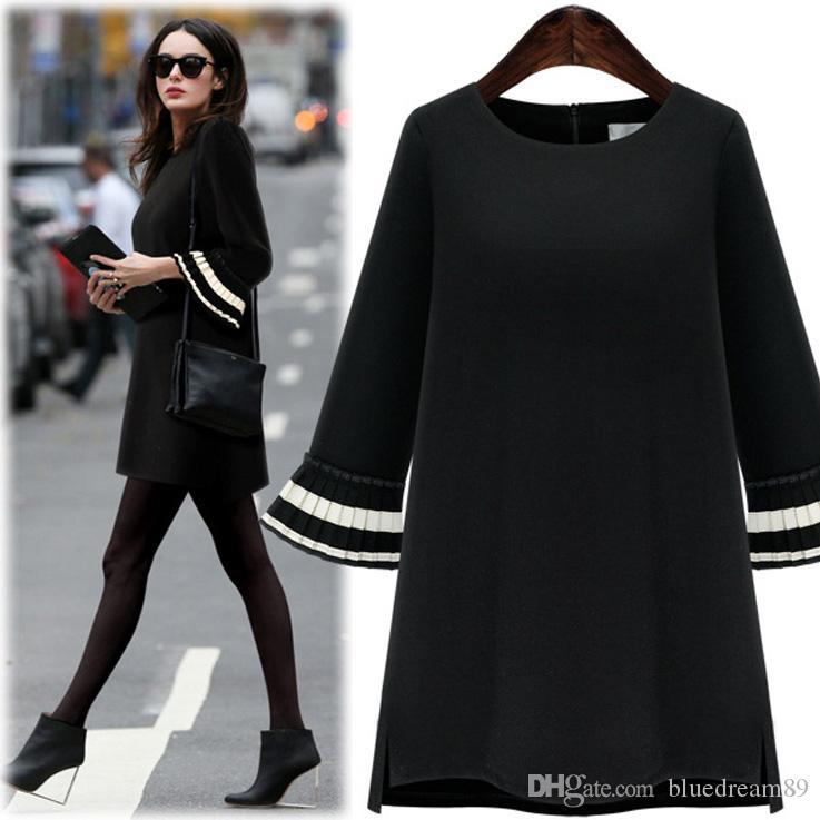 c82716db3f63 Dress Women Clothes Casual Plus Size Dresses For Womens Black Autumn ...