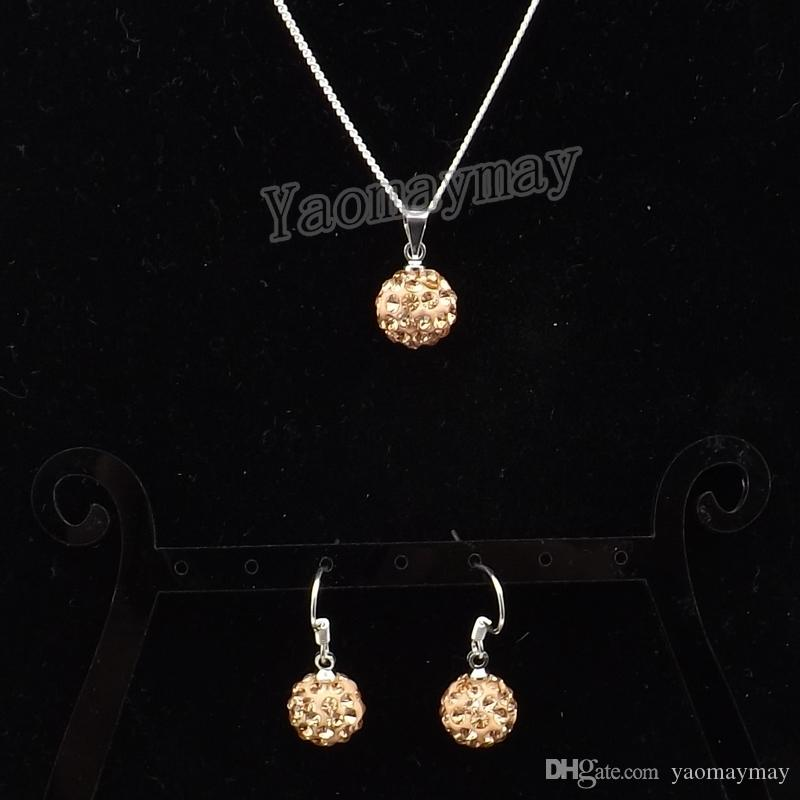 Champagne Disco Ball Pendant Earrings And Necklace Jewellery Set For Women Wholesale