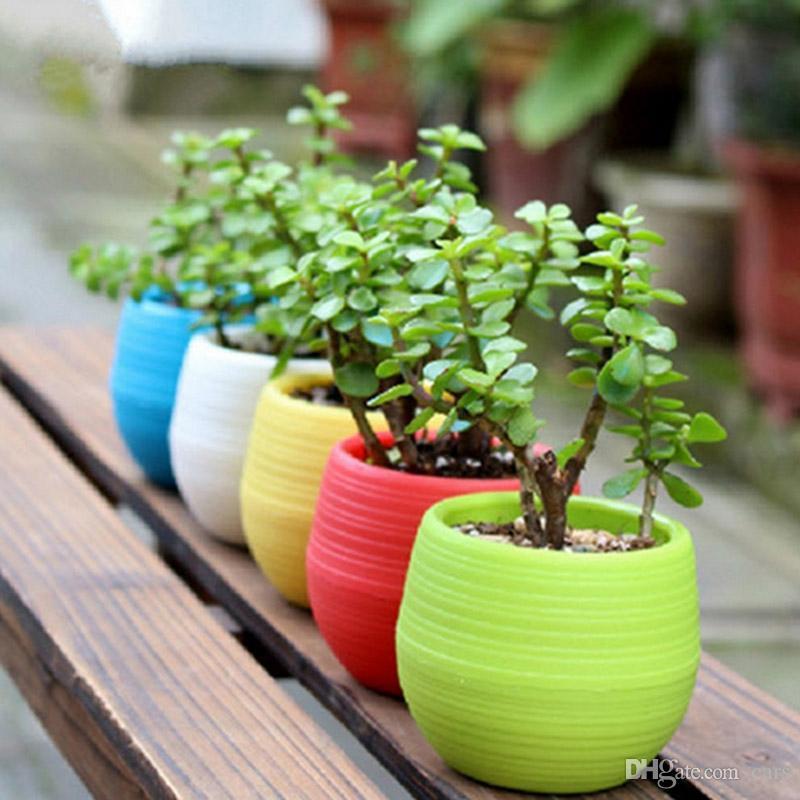 Colorful Mini Planter Pots Recycled Plastic Pot Perfect For Succulents Flowerpot Strong Reusable Plant Flower Herb Bed Flowerpots