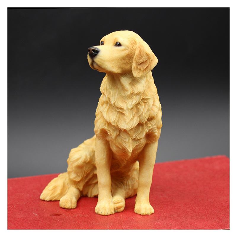 الجلوس الذهبي المسترد محاكاة الكلب تمثال الحرف اليدوية منحوتة الفنون مع الراتنج للديكور المنزل