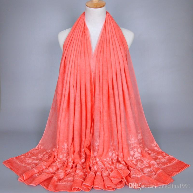 female plain embroidery flower cotton shawls muffler headband bohemian hijab solid color summer muslim scarves/scarf