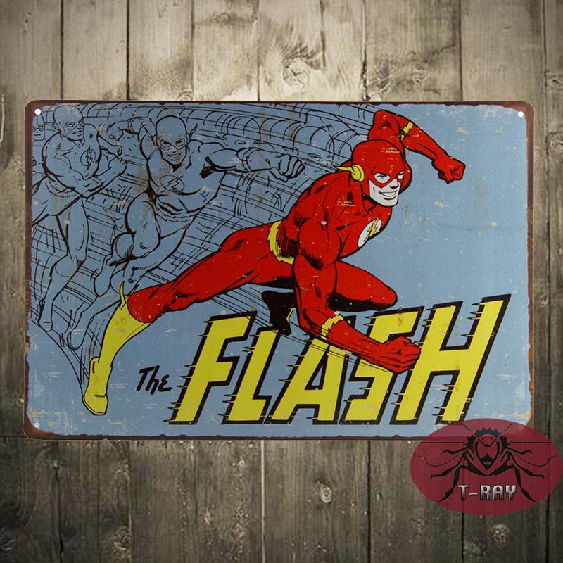 Superhero Wall Decor 2017 the flash vtg retro metal poster tin sign dc comics superhero