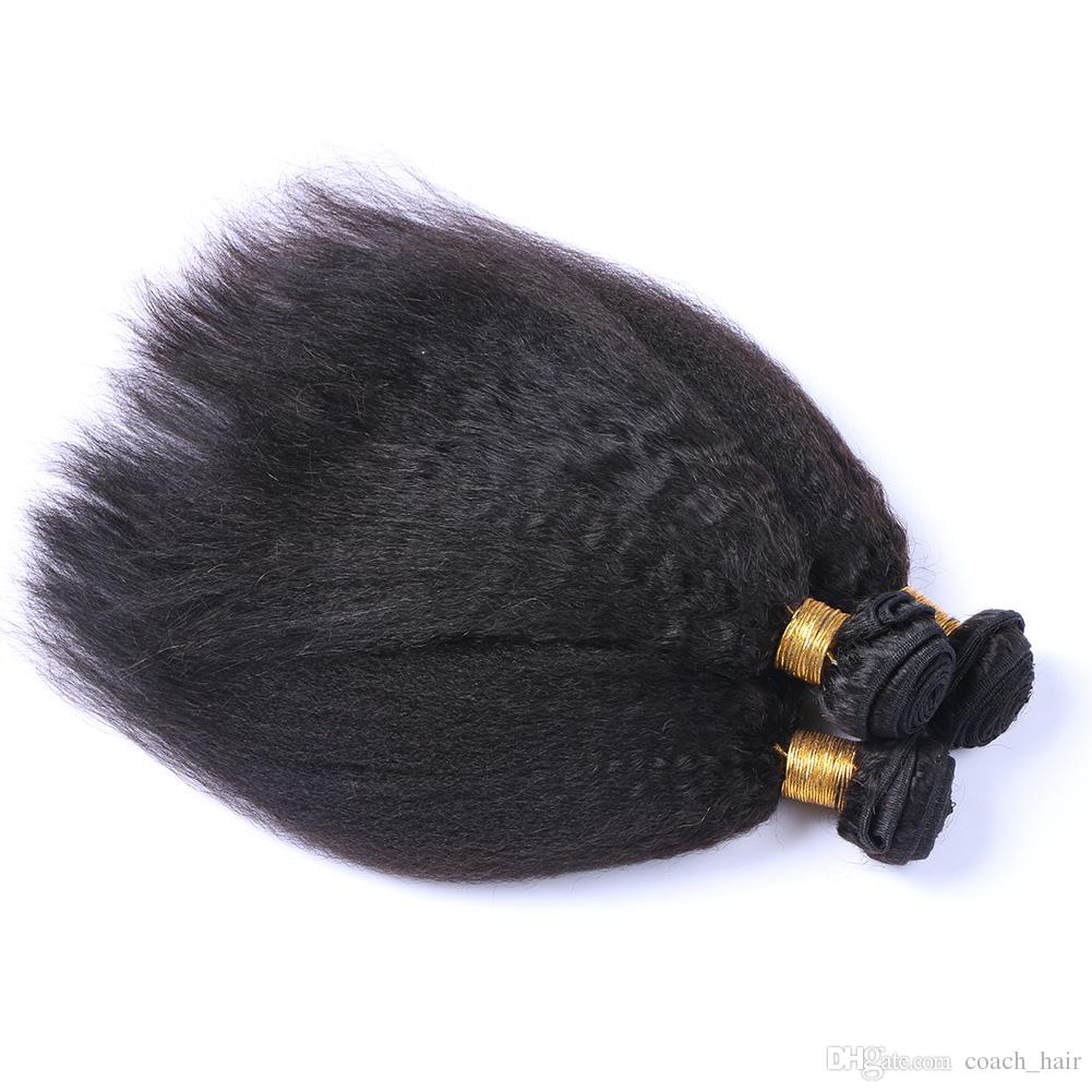 8A Grade Peruvian Kinky Straight Hair Bundles With Lace Closure 340GHuman Hair Extensions Coarse Yaki With 4X4 Closure