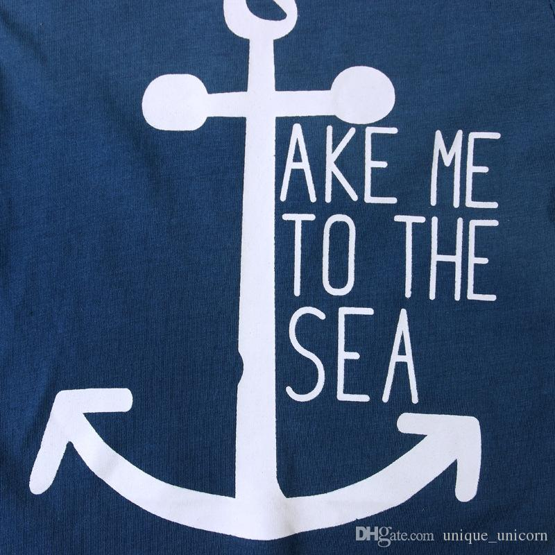 2016 Ins Baby Summer Sets Kids Boys Short Sleeve Navy Boat Anchor Letters T-shirt+ Cloud Printed Pants Baby Summer Outfits