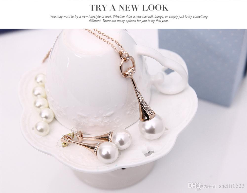 Fashion White Pearl Necklace Earrings Jewelry Sets For Bride Best Love on Wedding min order 61152207