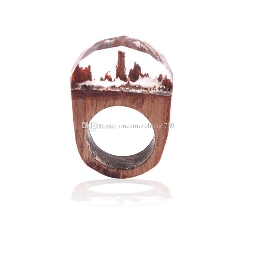 Mujeres de la moda de resina anillos de madera bosque mágico anillo de madera joyería de los hombres hechos a mano undersea azul miniatura mundo interior anillo