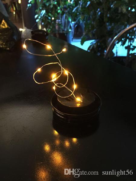 Nuovo / lotto Natale pannello solare luce pannello Mason Jar Lid Insert con LED giallo barattoli di vetro Decorazioni feste di Natale