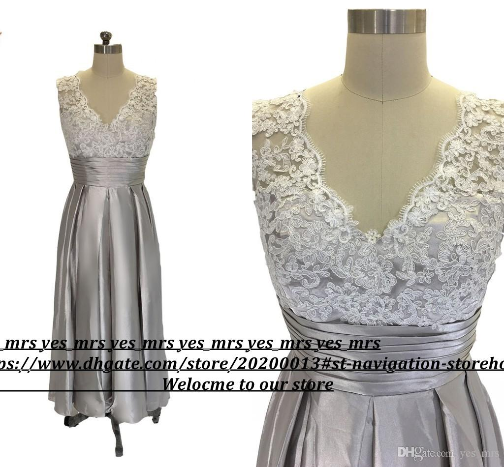 2017 Cheap Real Image Mother Of Bride Dresses V Neck White Lace Appliques Tea Length Silver Plus Size Formal Mother of the Groom Gowns