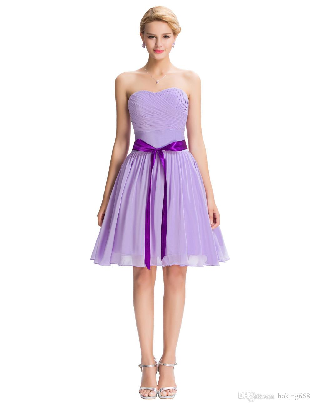 Knee Length Cocktail Dresses 2016 High Quality Short Purple Chiffon ...