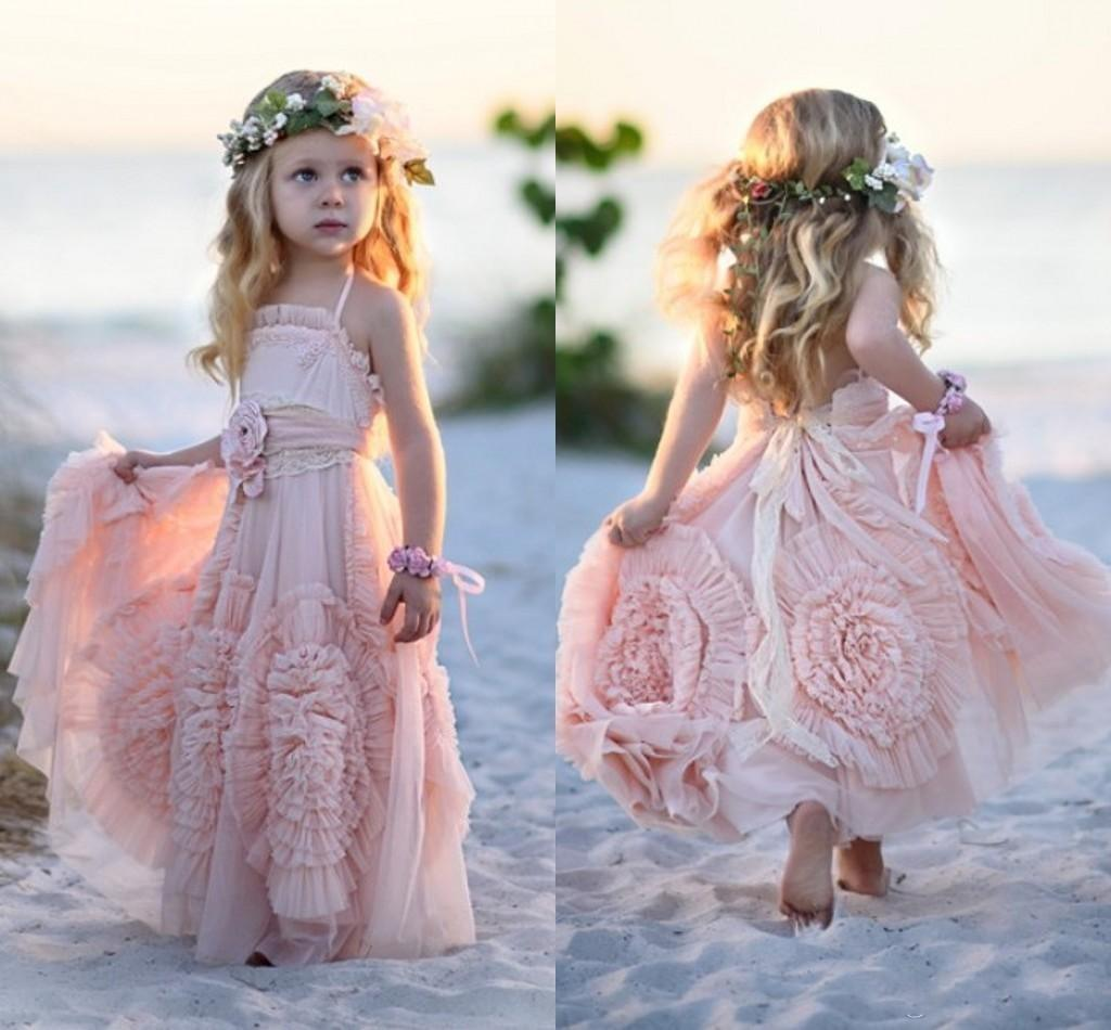 2016 Unique Design Flower Girls Dresses for Weddings Handmade Flowers Lace Boho Pink Green Girls Pageant Gowns Child First Communion Dress