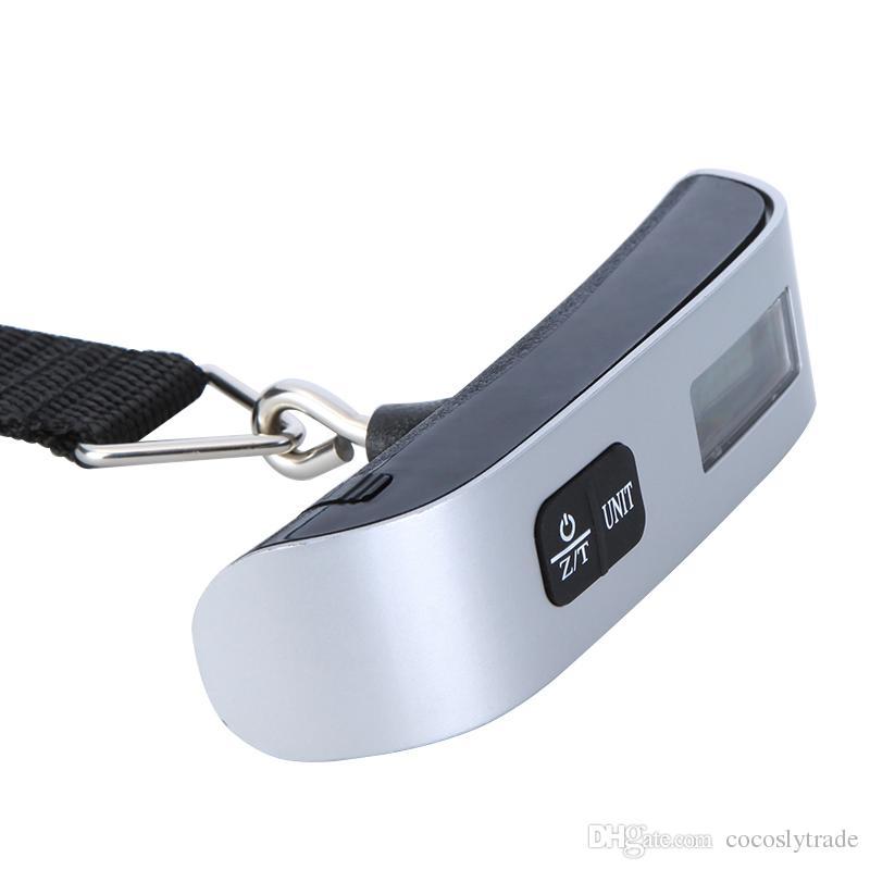 Mini Dijital Bagaj Ölçeği El LCD Elektronik Ölçekli Elektronik Asma Ölçeği Termometre 50 kg Kapasiteli Tartı Cihazı