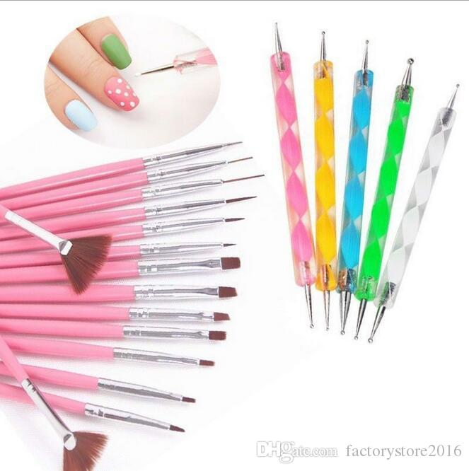 Nail Art Design Brosses Kit Brand New Nail Gel Polonais Art Styling Acrylique Brosse Set Nail Art Salon Peinture Dotting Pen outils