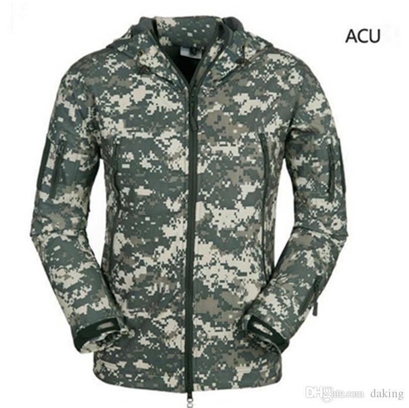 Armée d'hiver militaire tactique Softshell peau de requin hommes de veste de coupe-vent imperméable actifs Manteau chaud capuche Camo Vêtements de sport