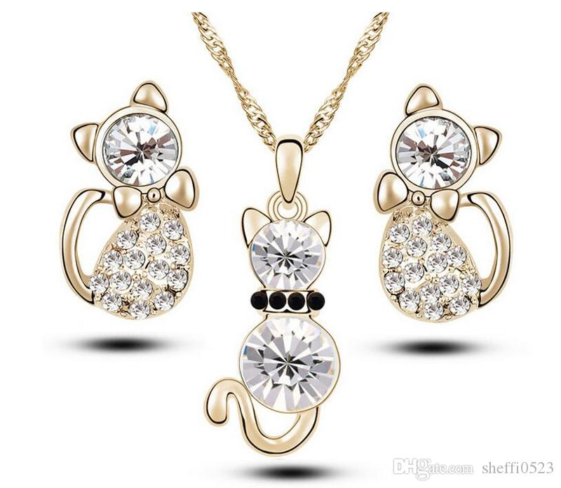 Fashion Cat Crystal Jewelry Sets High Quality Necklace Earrins Sets Min Order A94
