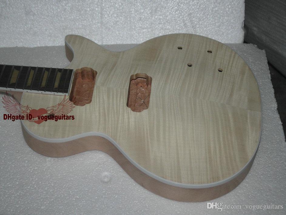 주문 숍 마호가니 바디 원피스 마호가니 넥 Flamed Maple With 미완성 일렉트릭 기타 키트, 하드웨어 포함
