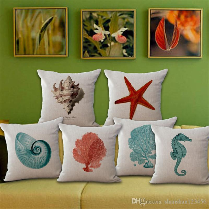 marine animal cushion cover cotton linen throw pillow case c