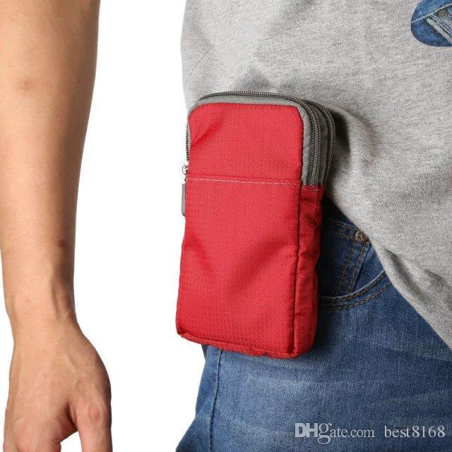 Para Iphone 7 / Plus / 6 6S / Galaxy S7 / Edge / S6 / Plus Clip Zipper Universal Bolsa de tela para teléfono 6.0 pulgadas Bolsa de cadera Bolsa Ranura para tarjeta Belt Handbag + Correa